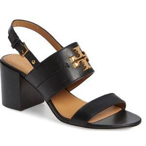 Tory Burch Everly Sandal calf Leather, Black. NIB